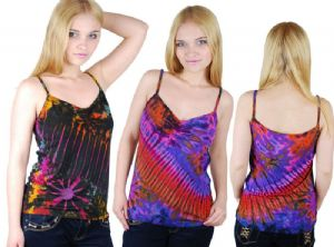 Hippy Vest Top~Bohemian Tie Dye Hippy Strappy Vest Colourful Summer Top~Fair Trade By Folio Gothic Hippy TH04